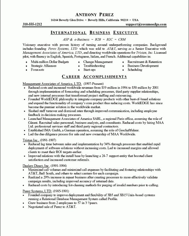 Unbelievable Business Resume Format 14 Executive Classic Format ...