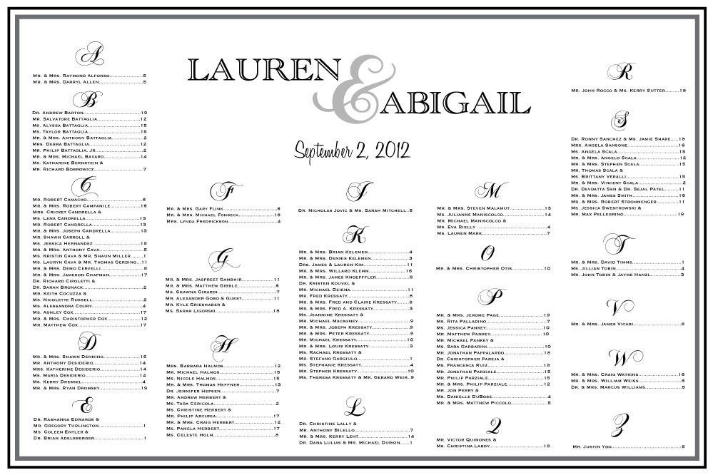 Sample Chart Templates » Wedding Seating Chart Poster Template ...