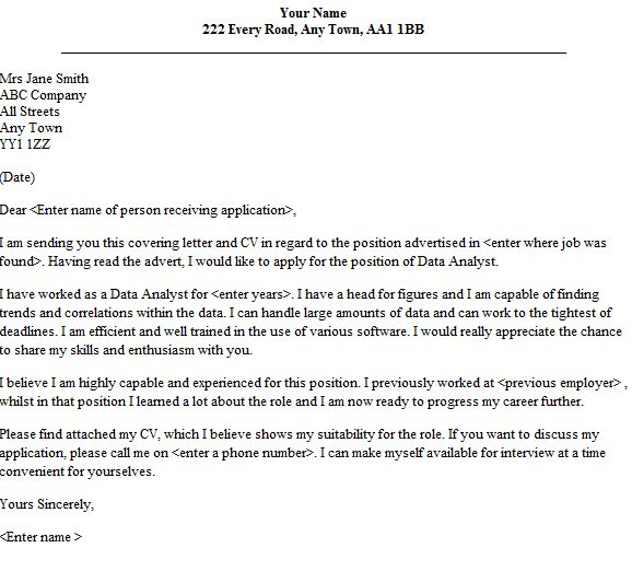Cover letter for healthcare data analyst - Address cover letter to ...