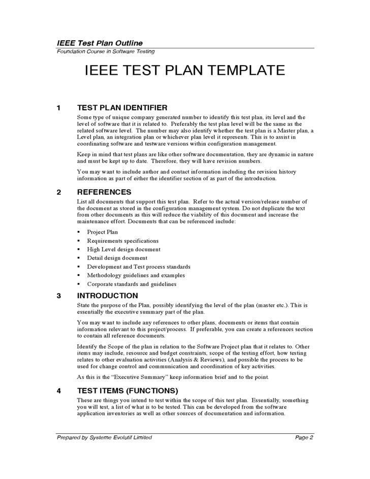Test Plan Outline Free Download