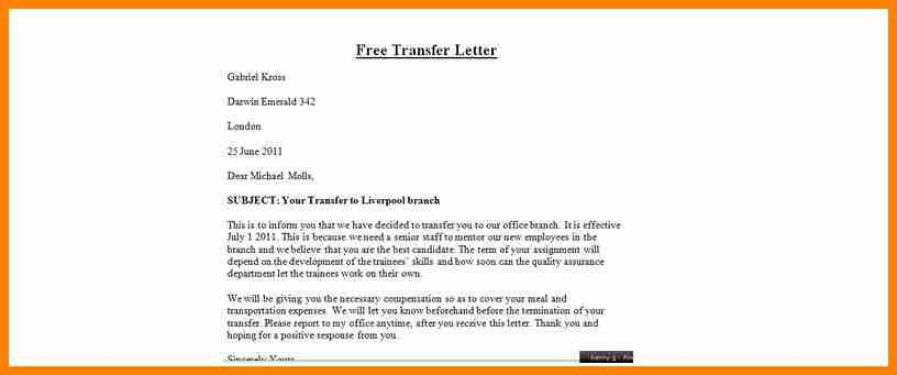 6+ employee transfer letter format - mail clerked