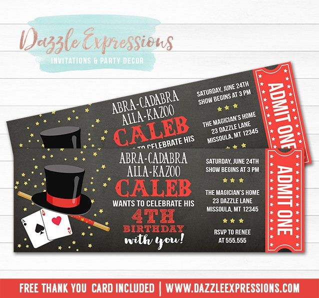 Printable Magic Show Ticket Birthday Invitation - Magician Event ...