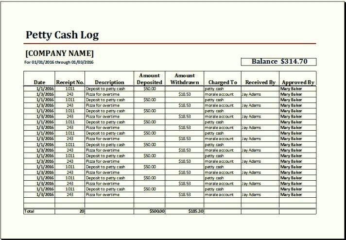Sample Petty Cash Log Template Excel   TemplateZet