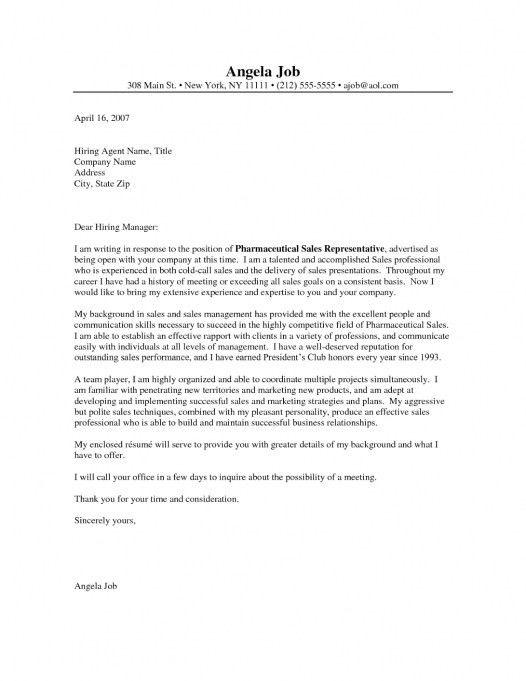 pharma sales cover letter