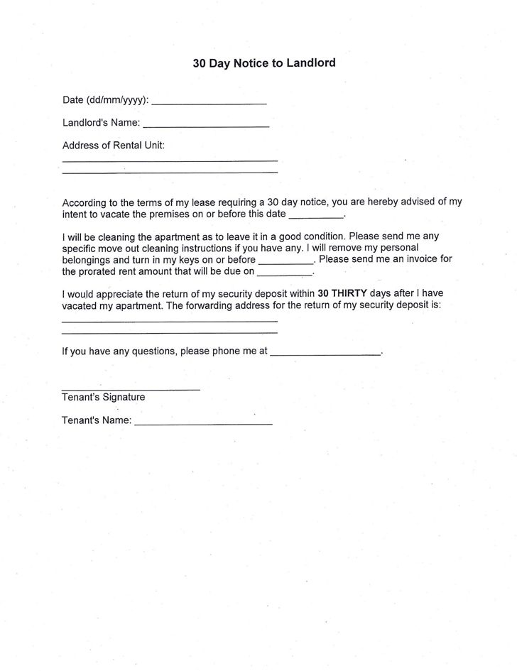 renter 30 day notice lettersample 30 day notice to vacate ...