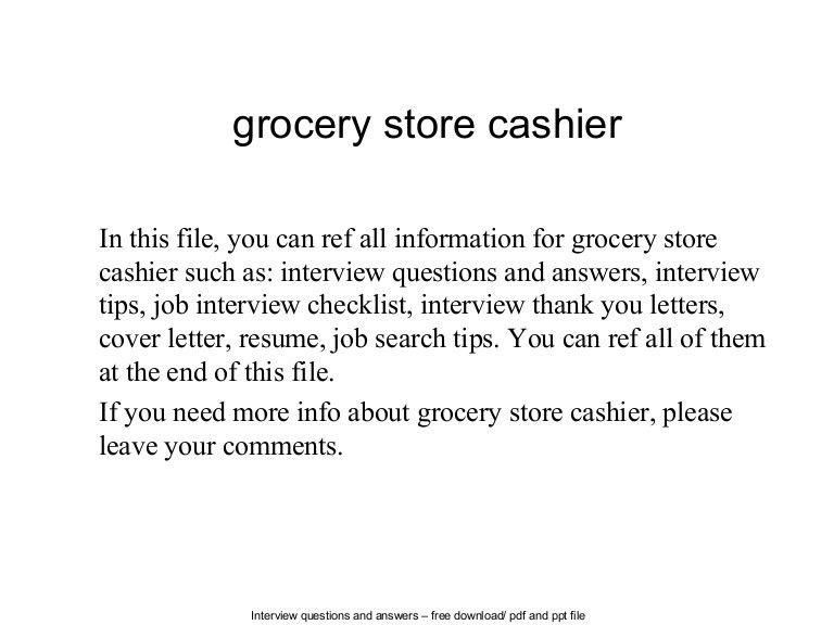 Grocery Store Cashier Job Description For Resume #1685