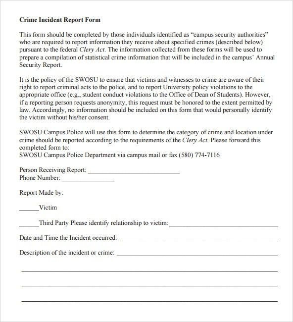 6+ Police Report Templates - Word Excel PDF Templates