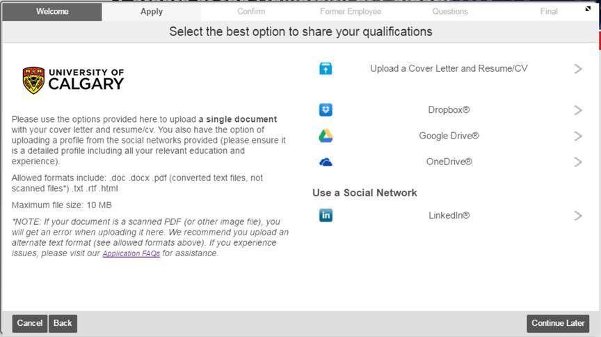 Application Help & FAQs | Careers U of C | University of Calgary