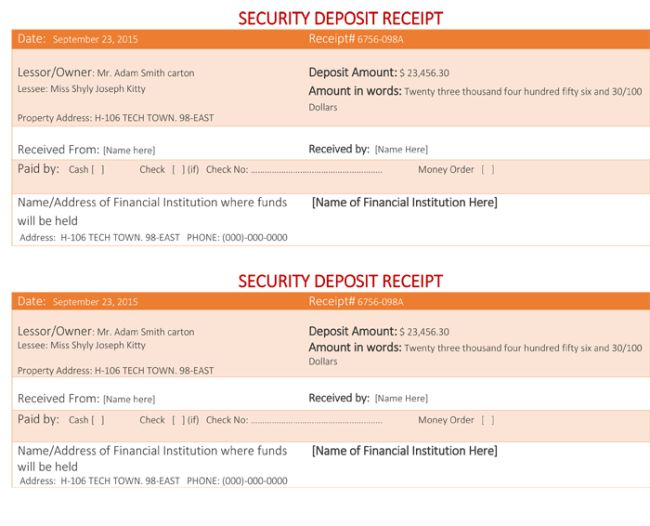 Security Deposit Receipt Template - Word Excel Formats