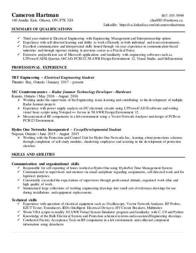 engineering student resume example resumes engineering career