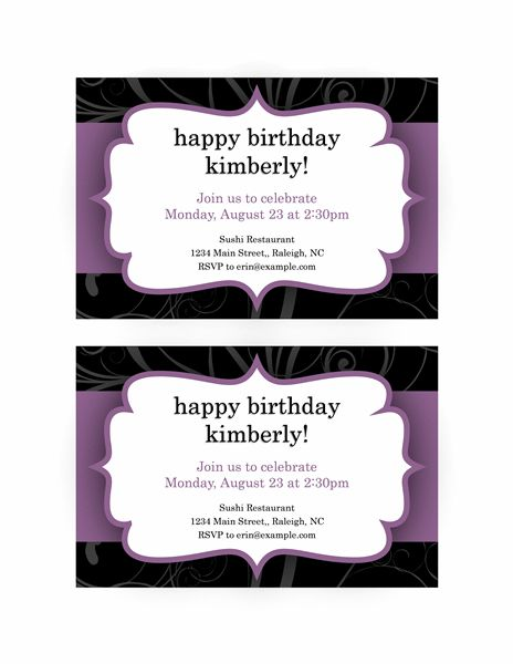 Party invitation (Purple Ribbon design) - Office Templates