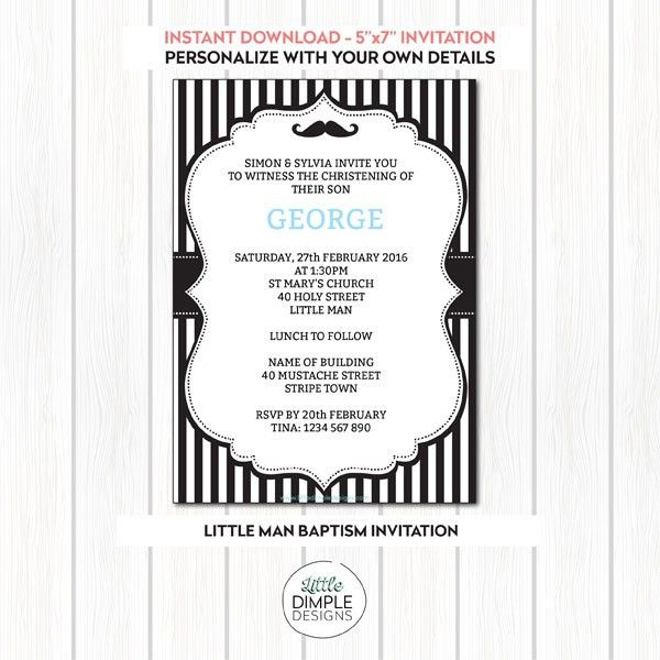 Printable Little Man Mustache Invitation Template for a boy's ...