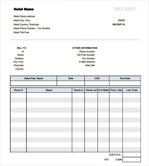 Hotel Receipt Template – 9+ Free Samples, Examples, Format