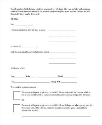 used car bill of sale pdf