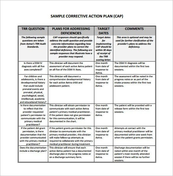 Corrective Action Plan Template – 10+ Free Sample, Example, Format ...