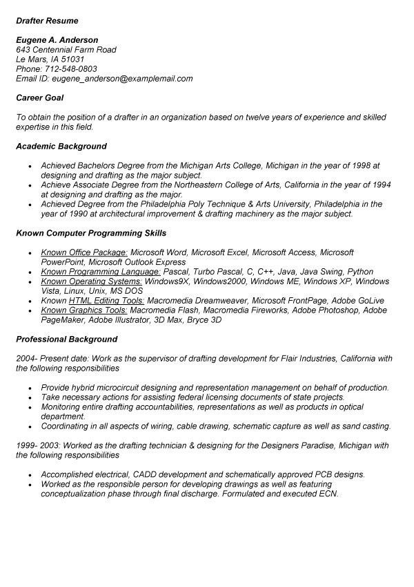 drafter resume professional autocad drafter templates to showcase