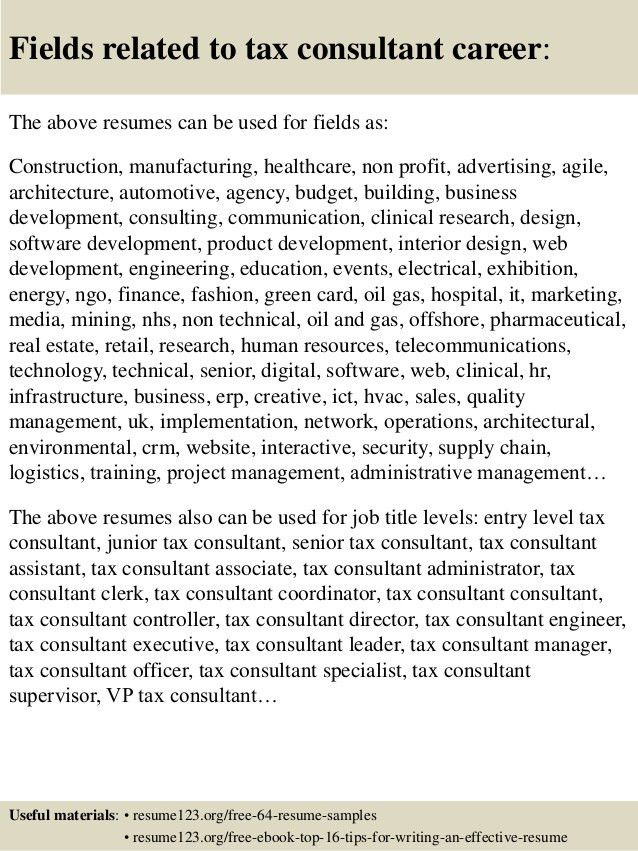 Top 8 tax consultant resume samples