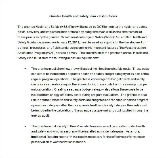 Health and Safety Plan Templates - 18 Free Word, PDF Documents ...