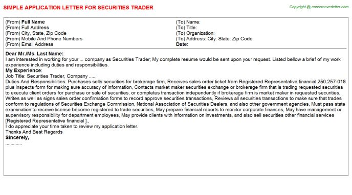 Repo Trader Application Letters