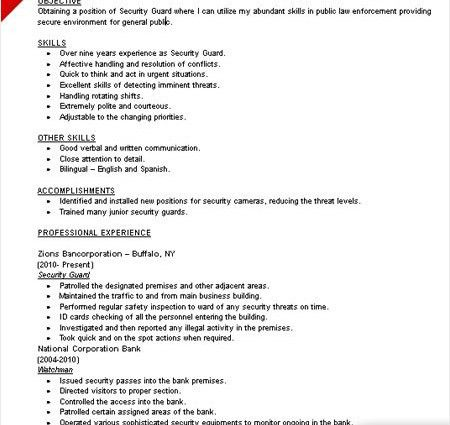 security guard resume skills - Writing Resume Sample | Writing ...
