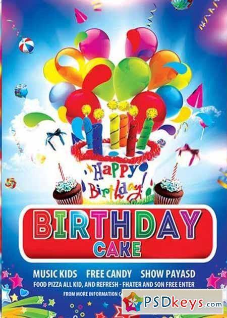 Birthday Cake Premium Flyer Template + Facebook Cover » Free ...