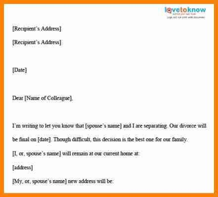 11+ divorce letter templates - mail clerked