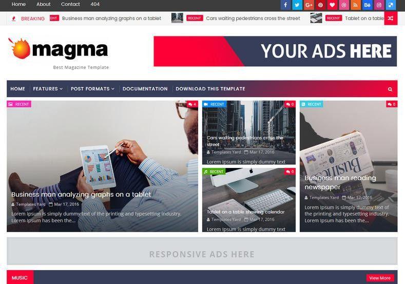 Magma News Responsive Blogger Template • Blogspot Templates 2017