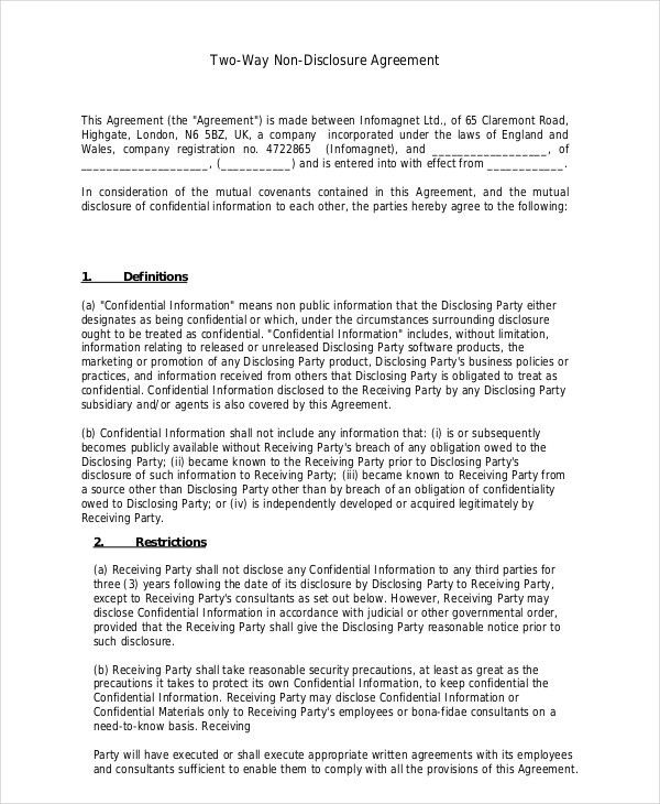 Non Disclosure Agreement Template – 9+ Free Word, PDF Documents ...