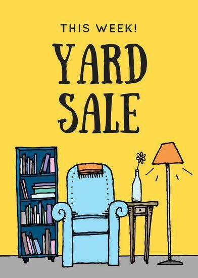 Yellow Cartoon Yard Sale Flyer - Templates by Canva