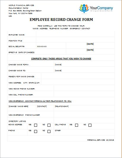 Employee Record Change Form Editable Printable Word Template ...
