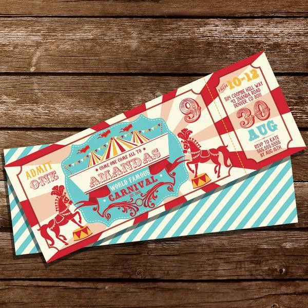 Backyard Carnival Party Ticket Invitation | Vintage Circus Party ...