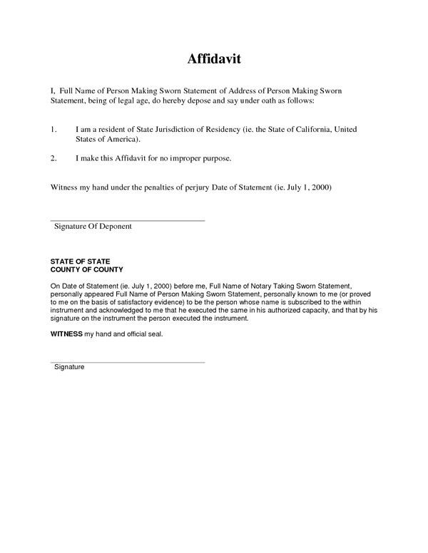 Free Affidavit Form. 38 Perfect Examples Of Affidavit Form .  Free Printable Affidavit Form