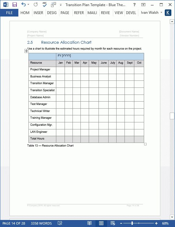Transition Plan - MS Word Template - Instant Download