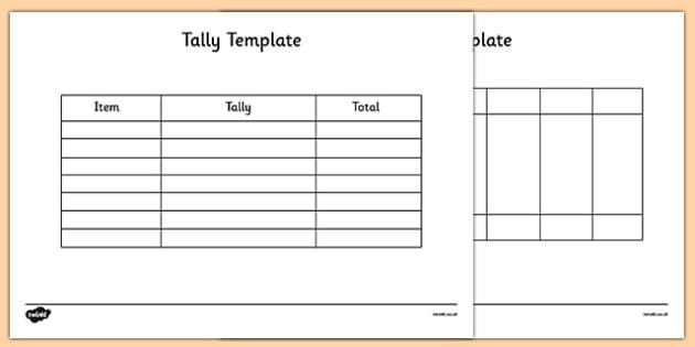 Tally Template - tally, template, tally chart, graph, maths