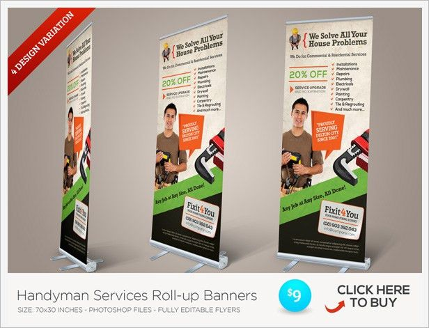 Handyman Services Flyers by kinzi21 | GraphicRiver