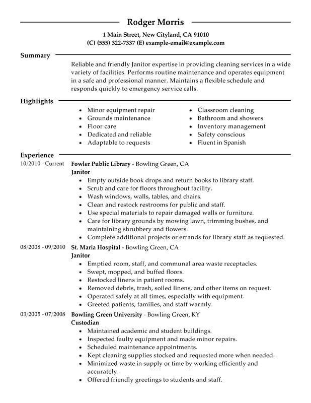 Impactful Professional Maintenance & Janitorial Resume Examples ...