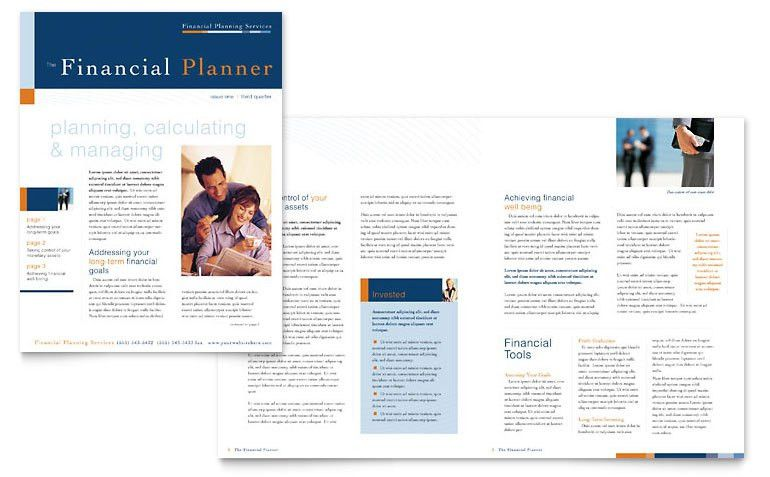 Financial Planning & Consulting Newsletter Template - Word & Publisher
