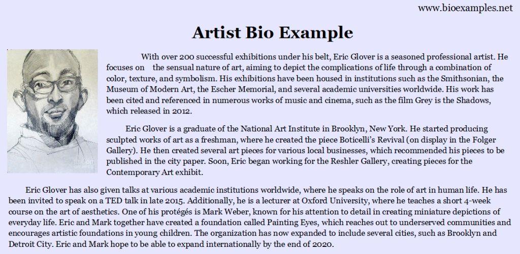 Artist Bio Example | Bio Examples | Pinterest