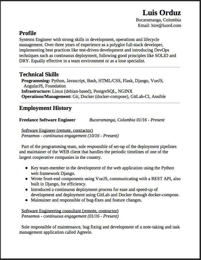 Freelance Programmer Resume Sample. 1902 best free resume sample ...