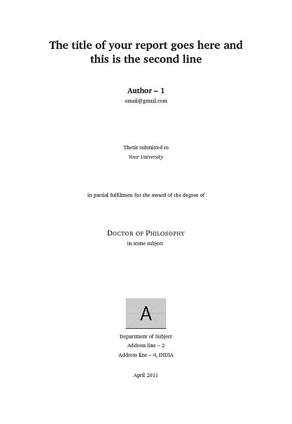 Custom title page in report or book class? - TeX - LaTeX Stack ...
