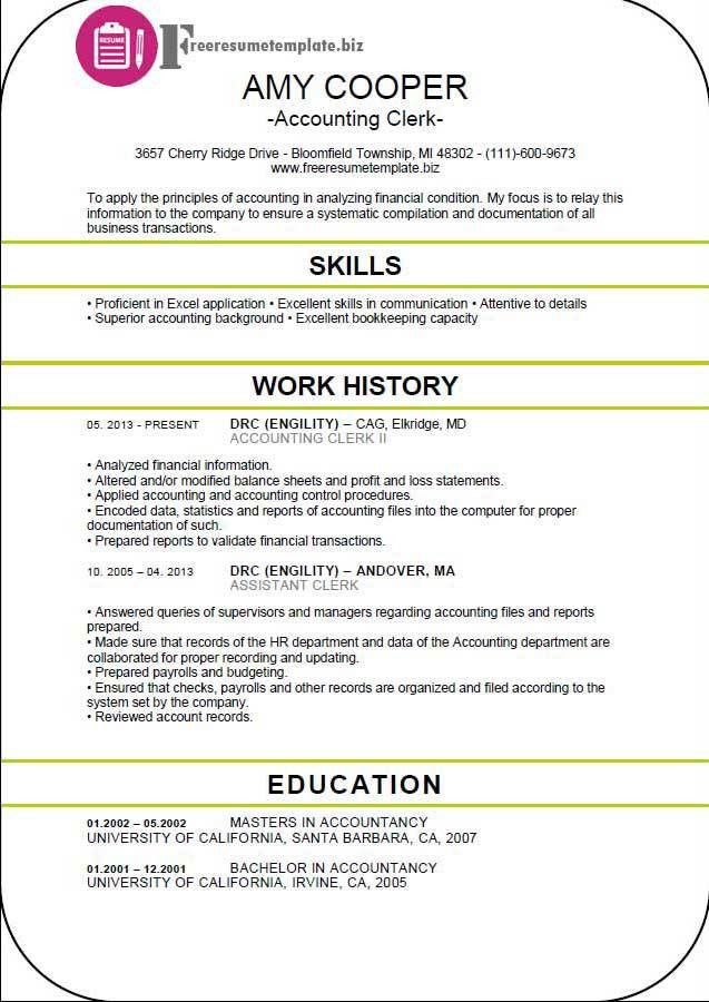 lovely accounting clerk resume 10 student entry level accounts ...