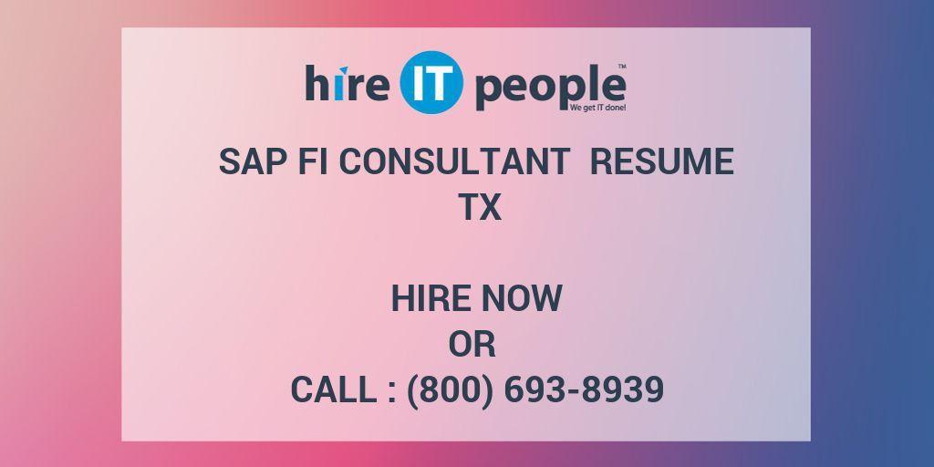 Sap Fi Consultant Resume Format - Contegri.com