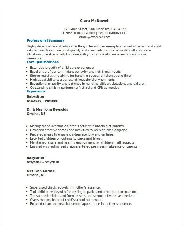 Sample Babysitter Resume - 6+ Examples in Word, PDF