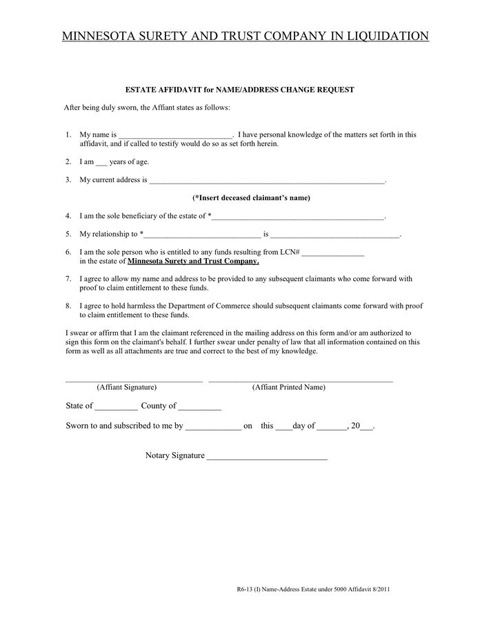 Affidavit general form in Word and Pdf formats