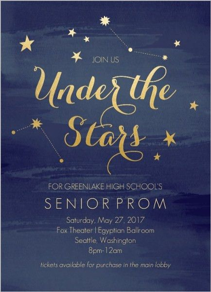 Watercolor Constellation Prom Invitation | Superstars | Pinterest ...