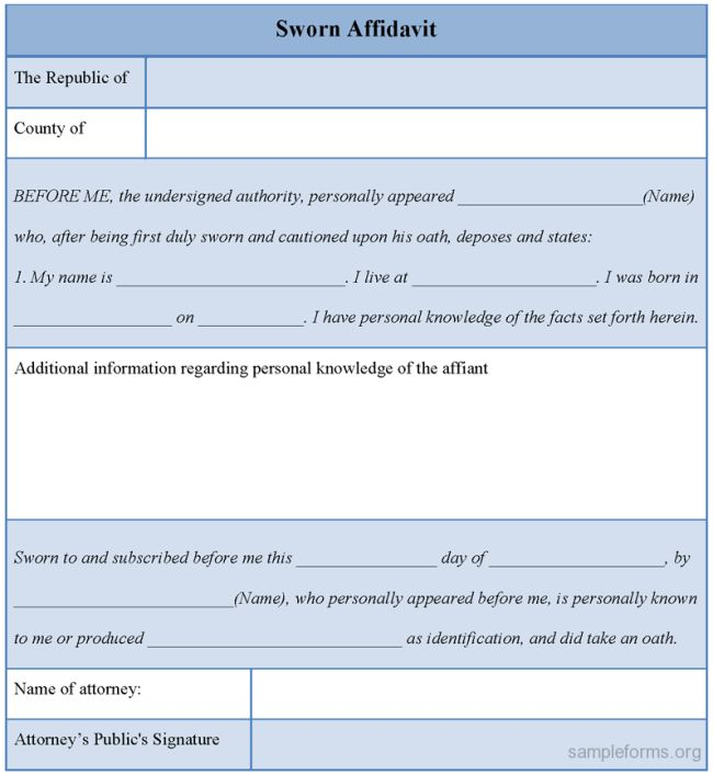 Best Sworn Affidavit Form Example Featuring Blank Space in Table ...