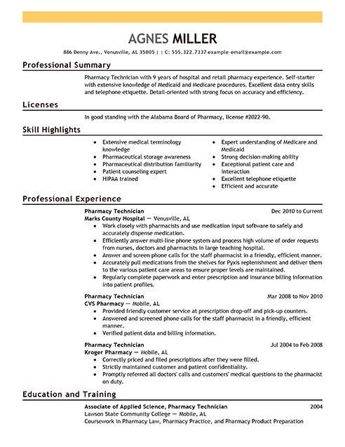 Sample Pharmacy Technician Resume | Free Resumes Tips