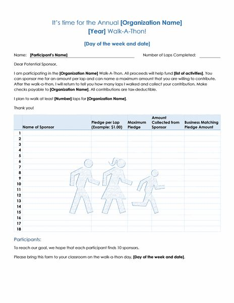 Walk-a-thon fundraiser pledge form - Office Templates