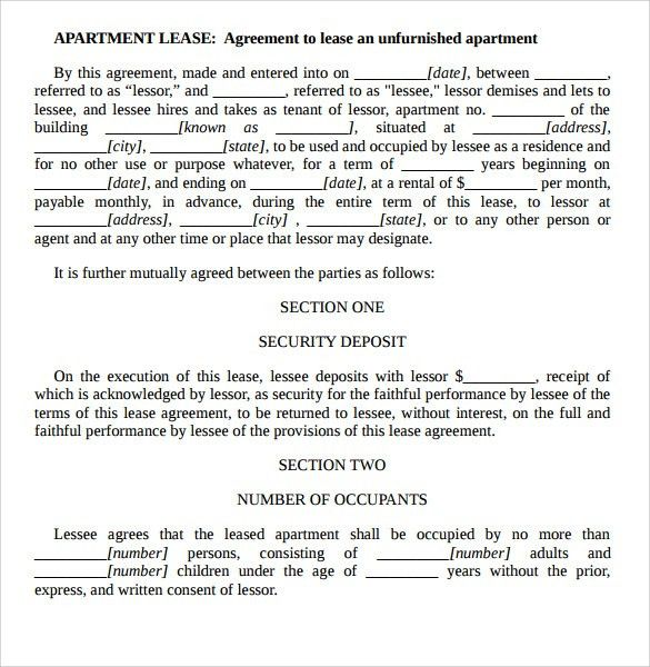 Sample Apartment Rental Agreement Template - 6+ Free Documents in ...