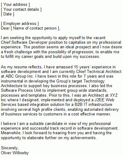 Software Developer Covering Letter Sample